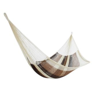 Rope Hammock, 'Coffee and Chocolate' (single) (Mexico)