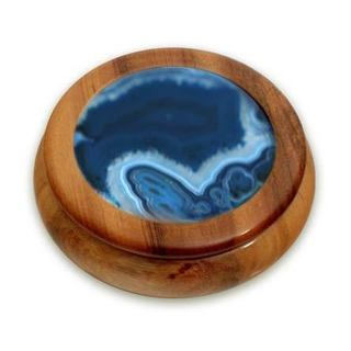 Handmade Blue Agate And Cedar Jewelry Box, 'Ocean Amazon' (Brazil)