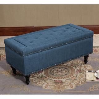 Chinmar Blue Tufted Rectangular Storage Ottoman