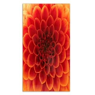 Designart 'Close-Up Orange Flower Petals' Extra Large Floral Metal Wall Art