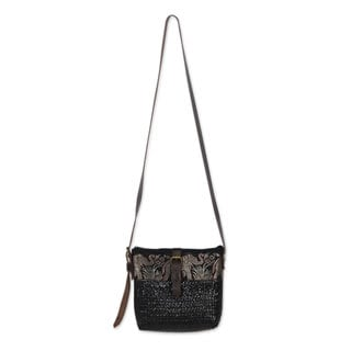 Natural Fibers With Leather Accent Shoulder Bag, 'Thai Elephant Parade on Black' (Thailand)