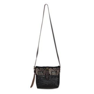 Handmade Natural Fibers With Leather Accent Shoulder Bag, 'Thai Elephant Parade on Black' (Thailand)