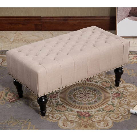 Remeed Taupe Tufted Fabric Rectangle Ottoman