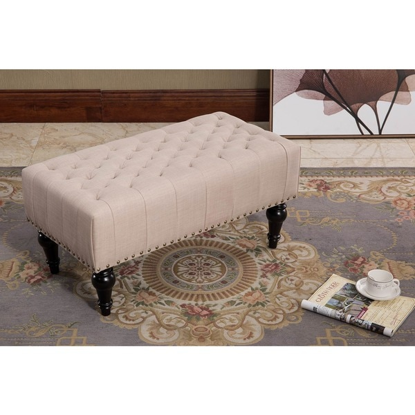 Remeed Taupe Tufted Fabric Rectangle Ottoman Free