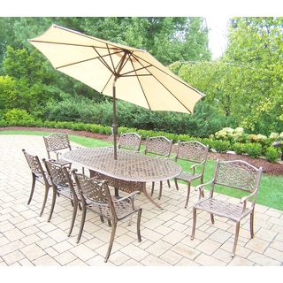 Dakota Outdoor Patio Dining Set with Oval Table, 8 Chairs, 9 ft Beige Umbrella and Stand