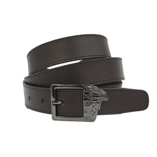 Versace Collection Brown Leather Medusa Buckle Belt