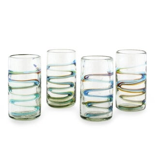 Set of 4 Blown Glass Tumblers, 'Rainbow Ripple' (Guatemala)