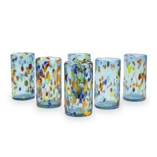 Handmade Set of 6 Blown Glass Tumblers, 'Bold Sky Fiesta' (Mexico)