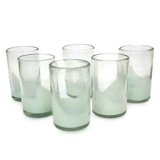 Set of 6 Blown Glass Tumblers, 'White Splash' (Mexico)