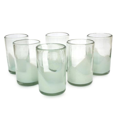 Handmade Set of 6 Blown Glass Tumblers, 'White Splash' (Mexico)