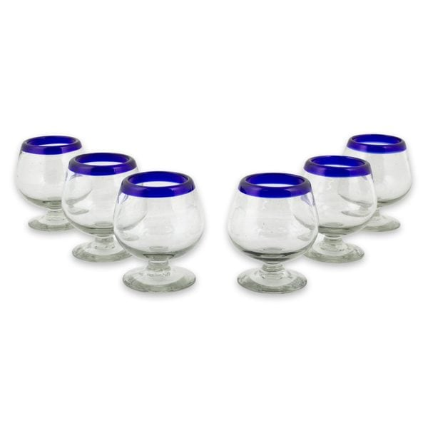 Handmade Cobalt Kiss Blown Cordinal Glasses, Set of 6 (Mexico). Opens flyout.