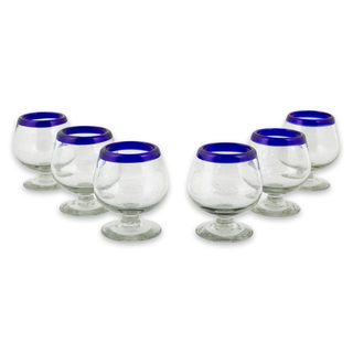 Set of 6 Blown Glass Cordial Glasses, 'Cobalt Kiss' (Mexico)