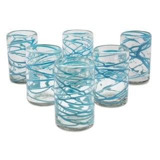 Set of 6 Blown Glass Tumblers, 'Aquamarine Swirl' (Mexico)