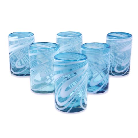 Handmade Whirling Aquamarine Blown Glass, Set of 6 (Mexico)