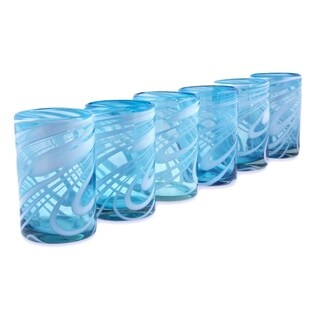 Set of 6 Blown Glass Water Glasses, 'Whirling Aquamarine' (Mexico)