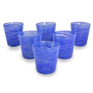 Set of 6 Blown Glass Rock Glasses, 'Cobalt Centrifuge' (Mexico)