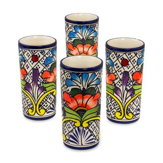 Set of 4 Ceramic Tumblers, 'Floral Joy' (Mexico)