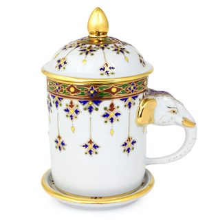 Handmade Benjarong Porcelain Mug, 'Charmed Thai' (Thailand)