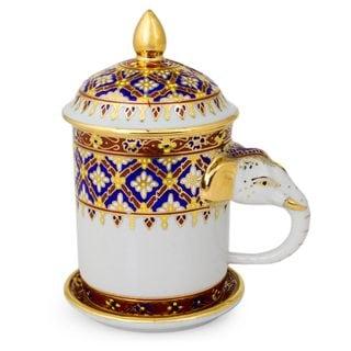 Handmade Benjarong Porcelain Mug, 'Thai Elixir' (Thailand)
