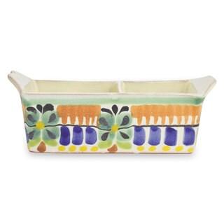 Handmade Majolica Ceramic Sugar Packet Holder, 'Acapulco' (Mexico)