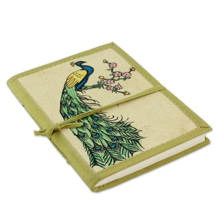 Handmade Paper Journal, 'Peacock Journeys' (India)
