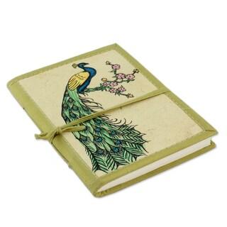 Handmade Paper Journal, 'Peacock Journeys' (India)