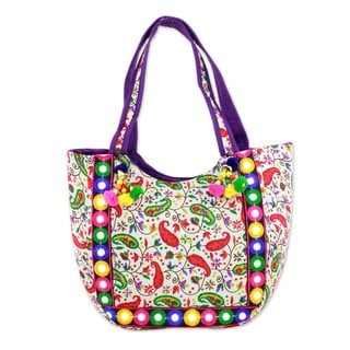 Embroidered Tote Handbag, 'Paisley Dreams' (India)