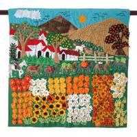 Handmade Applique Wall Hanging, 'Sunflower Farm' (Peru)