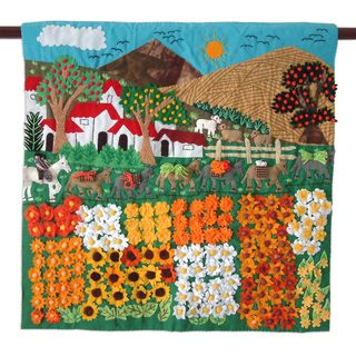 Handmade Applique Wall Hanging, 'Sunflower Farm' (Peru)