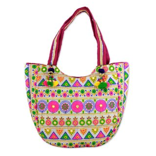 Embroidered Tote Handbag, 'Floral View' (India)