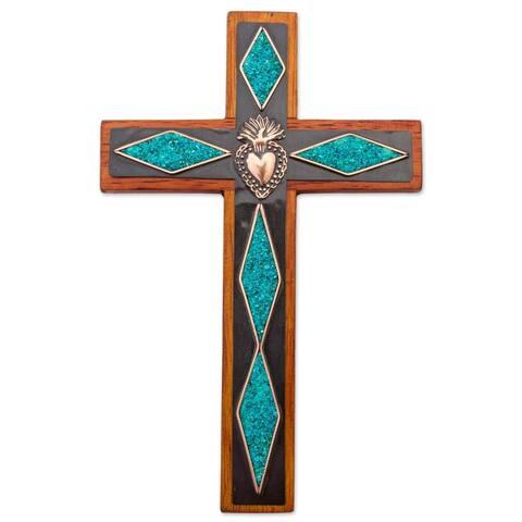 Handmade Chrysocolla and Copper Wall Cross (Peru)