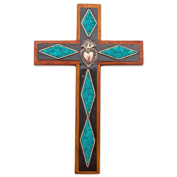 Handmade Chrysocolla And Copper Wall Cross, 'Chrysocolla Cross' (Peru)