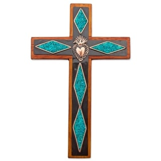 Chrysocolla And Copper Wall Cross, 'Chrysocolla Cross' (Peru)