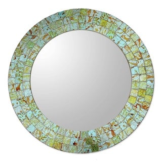 Glass Mosaic Mirror, 'Aqua Splash' (India)