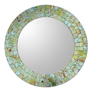 Glass Mosaic Mirror, 'Aqua Splash' (India)