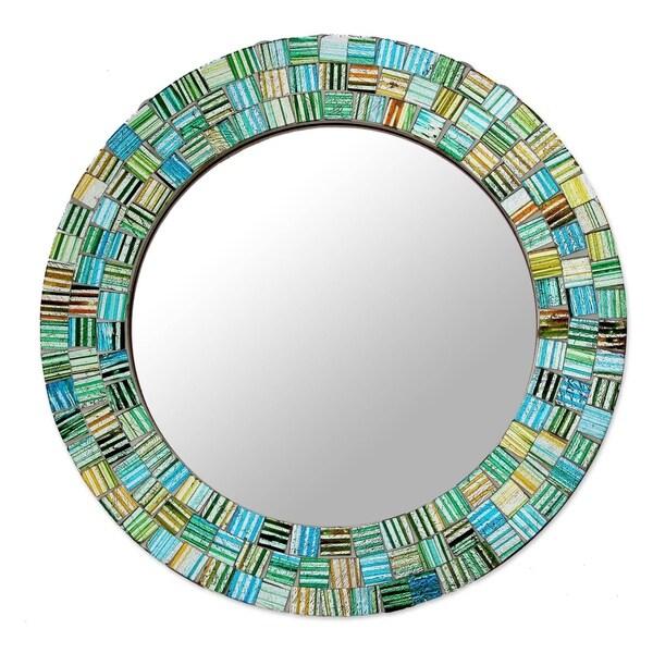 Handmade Aqua Trellis Glass Mosaic Mirror (India)