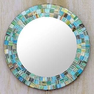 Glass Mosaic Mirror, 'Aqua Trellis' (India)