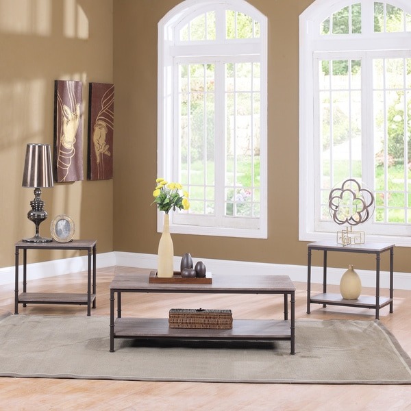 Piece modern rectangular coffee table and 2 end tables living room set