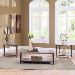 3 Piece Modern Rectangular Coffee Table and 2 End Tables Living Room Set