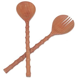 Wood Salad Serving Set, 'Bamboo Grove' (Indonesia)