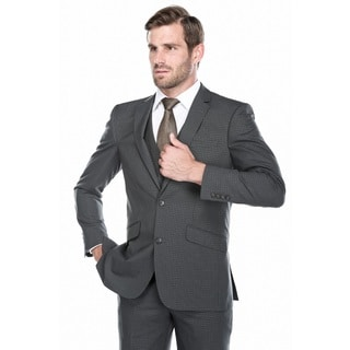 Verno Men's Grey and Black Micro-plaid 3-Piece Slim-fit Suit