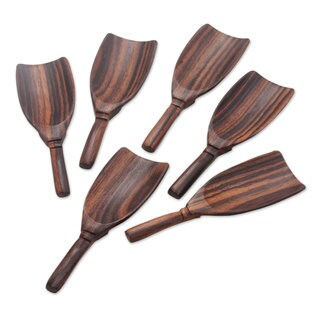 Set of 6 Wood Serving Spoons, 'Relish' (Indonesia)