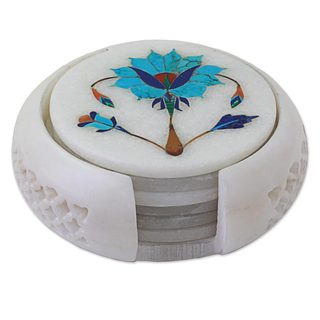 Set of 6 Marble Coasters, 'Agra Grace' (India)
