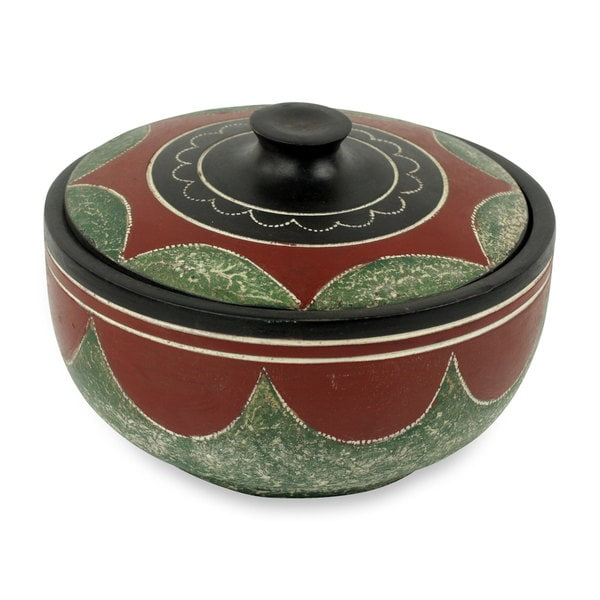 Decorative Wood Bowl, 'Adipaa' (Ghana)