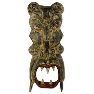 African Wood Mask, 'Face of the Tiger' (Ghana)