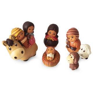 Ceramic 7-piece Nativity Scene, 'Divine Arrival' (Peru)