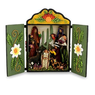 Wood And Ceramic Nativity Scene, 'Huancayo Christmas' (Peru)