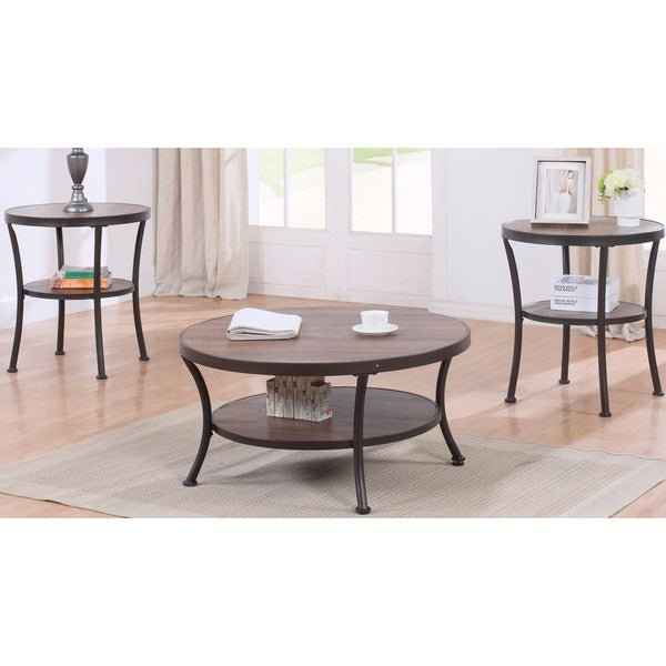 3 Piece Modern Round Coffee Table and 2 End Tables Living Room Set ...