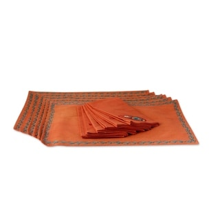Set of 6 Cotton Placemat And Napkin Set, 'Sunset Paisley' (India)