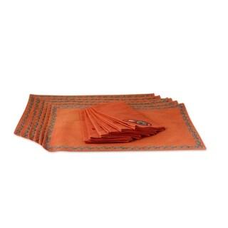 Handmade Set of 6 Cotton Placemat And Napkin Set, 'Sunset Paisley' (India)